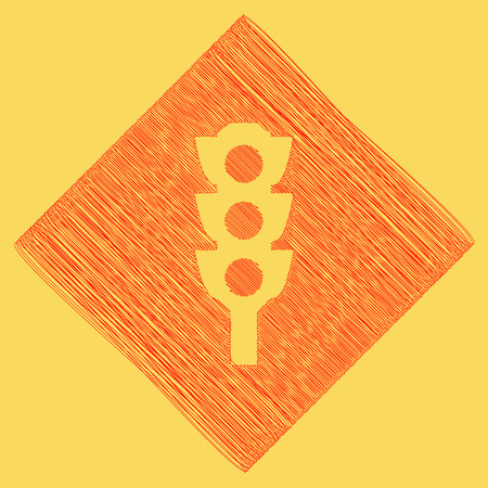 Traffic light sign. Vector. Red scribble icon obtained as a result of subtraction rhomb and path. Royal yellow background. Illustration