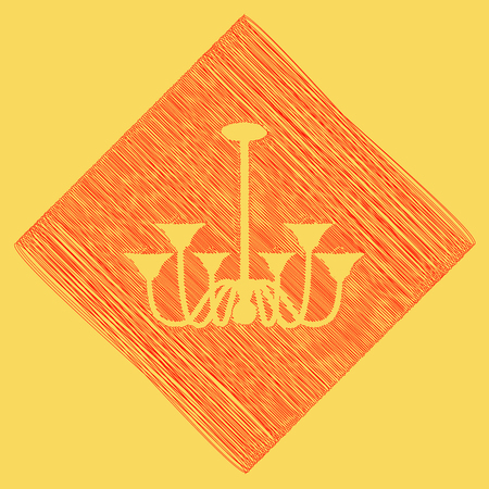 Chandelier simple sign. Vector. Red scribble icon obtained as a result of subtraction rhomb and path. Royal yellow background. Illustration