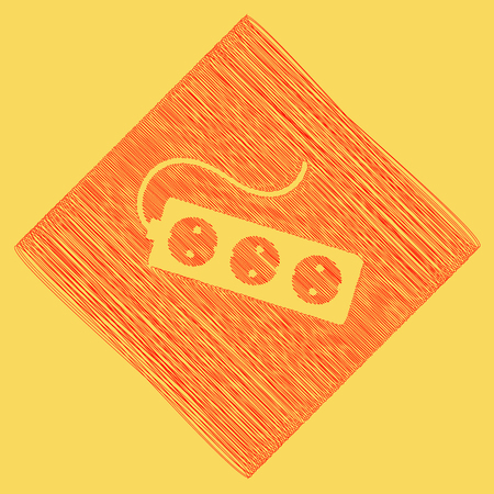 Electric extension plug sign. Vector. Red scribble icon obtained as a result of subtraction rhomb and path. Royal yellow background.