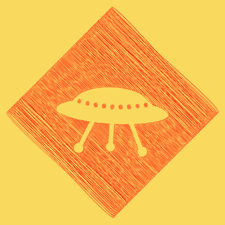 UFO simple sign. Vector. Red scribble icon obtained as a result of subtraction rhomb and path. Royal yellow background.