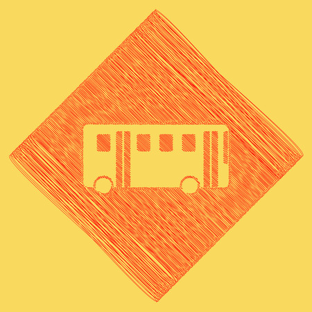 Bus simple sign. Vector. Red scribble icon obtained as a result of subtraction rhomb and path. Royal yellow background.