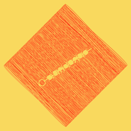 Shish kebab on skewers sign. Vector. Red scribble icon obtained as a result of subtraction rhomb and path. Royal yellow background.