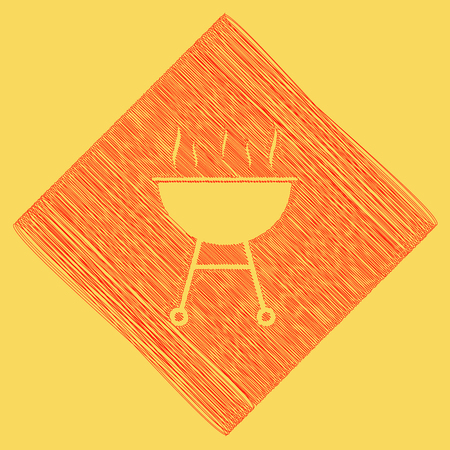Barbecue simple sign. Vector. Red scribble icon obtained as a result of subtraction rhomb and path. Royal yellow background. Illustration
