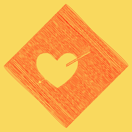 cor: Arrow heart sign. Vector. Red scribble icon obtained as a result of subtraction rhomb and path. Royal yellow background. Illustration