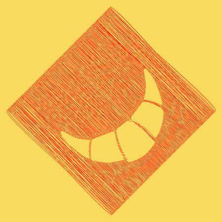 Croissant simple sign. Vector. Red scribble icon obtained as a result of subtraction rhomb and path. Royal yellow background.
