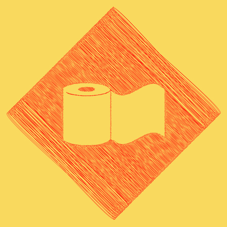 Toilet Paper sign. Vector. Red scribble icon obtained as a result of subtraction rhomb and path. Royal yellow background.