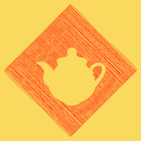 Tea maker Kitchen sign. Vector. Red scribble icon obtained as a result of subtraction rhomb and path. Royal yellow background. Illustration