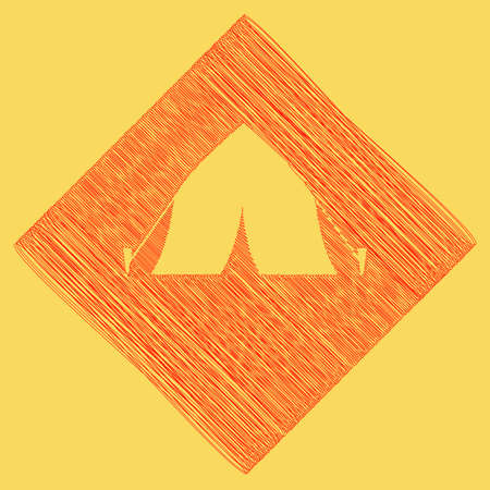 Tourist tent sign. Vector. Red scribble icon obtained as a result of subtraction rhomb and path. Royal yellow background.