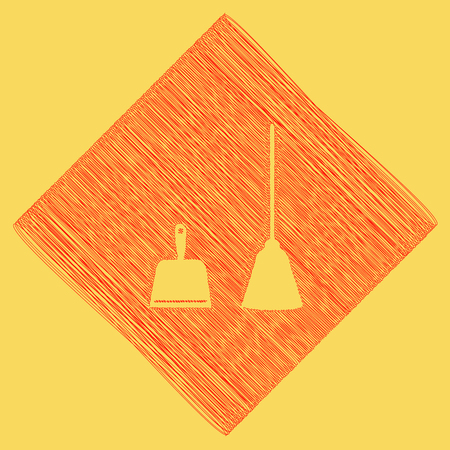 whisk broom: Dustpan vector sign. Scoop for cleaning garbage housework dustpan equipment. Vector. Red scribble icon obtained as a result of subtraction rhomb and path. Royal yellow background. Illustration