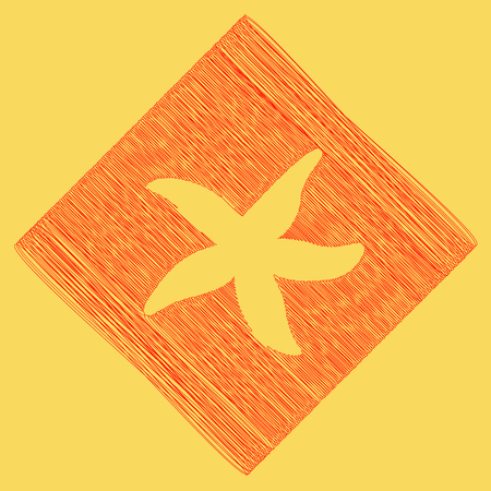 Sea star sign. Vector. Red scribble icon obtained as a result of subtraction rhomb and path. Royal yellow background.