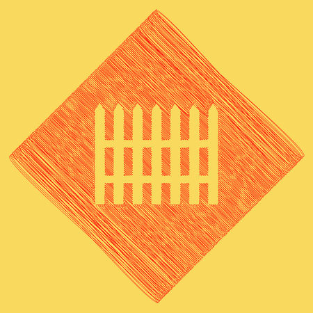 dissociation: Fence simple sign. Vector. Red scribble icon obtained as a result of subtraction rhomb and path. Royal yellow background.
