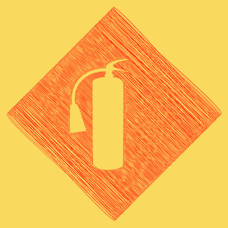 Fire extinguisher sign. Vector. Red scribble icon obtained as a result of subtraction rhomb and path. Royal yellow background.