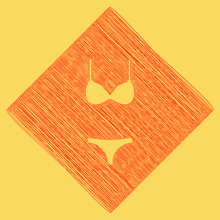 Women swimsuit sign. Vector. Red scribble icon obtained as a result of subtraction rhomb and path. Royal yellow background. Illustration