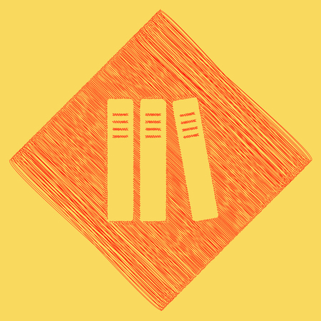 Row of binders, office folders icon. Vector. Red scribble icon obtained as a result of subtraction rhomb and path. Royal yellow background. Illustration