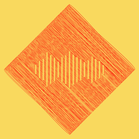 Sound waves icon. Vector. Red scribble icon obtained as a result of subtraction rhomb and path. Royal yellow background.