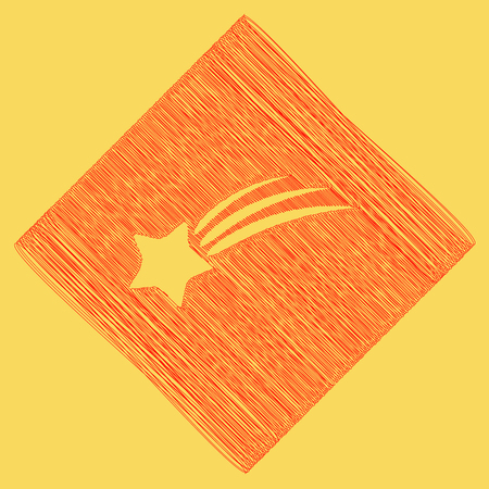Meteor shower sign. Vector. Red scribble icon obtained as a result of subtraction rhomb and path. Royal yellow background. Illustration