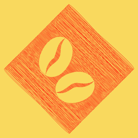 Coffee beans sign. Vector. Red scribble icon obtained as a result of subtraction rhomb and path. Royal yellow background.