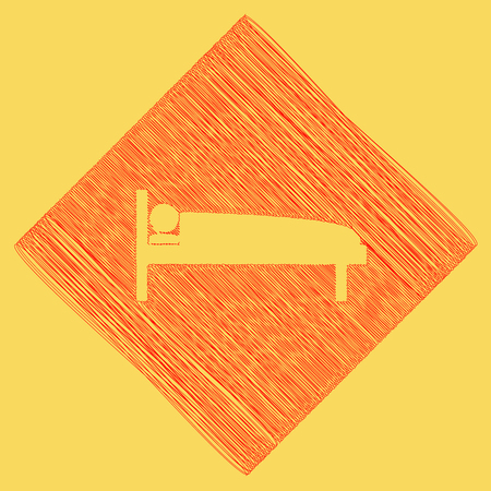 Hospital sign illustration. Vector. Red scribble icon obtained as a result of subtraction rhomb and path. Royal yellow background.