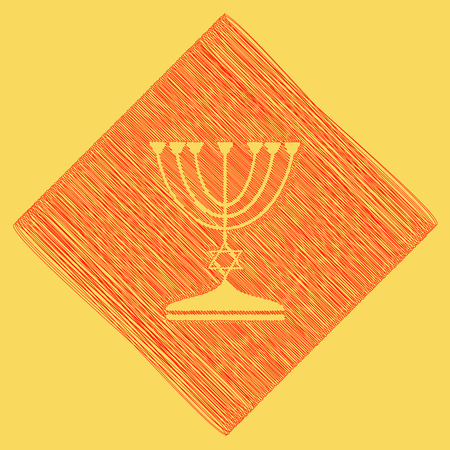 Jewish Menorah candlestick in black silhouette. Vector. Red scribble icon obtained as a result of subtraction rhomb and path. Royal yellow background. Illustration