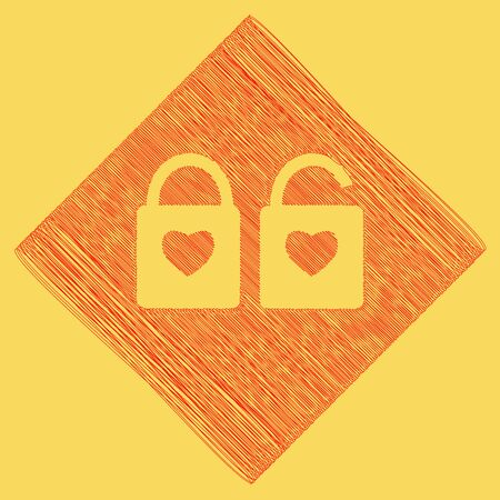 lock sign with heart shape. A simple silhouette of the lock. Shape of a heart. Vector. Red scribble icon obtained as a result of subtraction rhomb and path. Royal yellow background.
