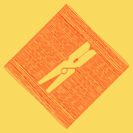 Clothes peg sign. Vector. Red scribble icon obtained as a result of subtraction rhomb and path. Royal yellow background.