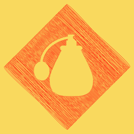 subtraction: Vector black perfume icon set. Perfume Icon Object, Perfume Icon Picture. Vector. Red scribble icon obtained as a result of subtraction rhomb and path. Royal yellow background.