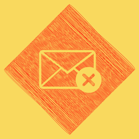 royal: Mail sign illustration with cancel mark. Vector. Red scribble icon obtained as a result of subtraction rhomb and path. Royal yellow background.