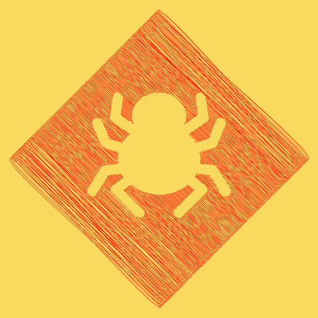 Spider sign illustration. Vector. Red scribble icon obtained as a result of subtraction rhomb and path. Royal yellow background.