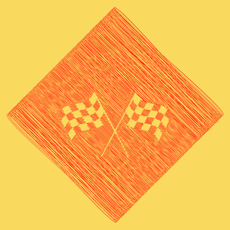 Crossed checkered flags logo waving in the wind conceptual of motor sport. Vector. Red scribble icon obtained as a result of subtraction rhomb and path. Royal yellow background. Illustration