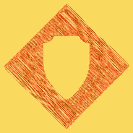 Shield sign illustration. Vector. Red scribble icon obtained as a result of subtraction rhomb and path. Royal yellow background.