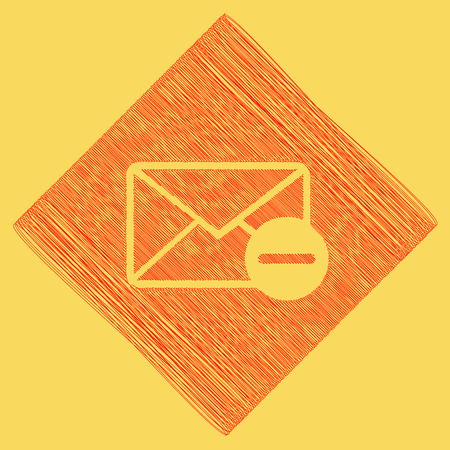 diamond letters: Mail sign illustration with remove mark. Vector. Red scribble icon obtained as a result of subtraction rhomb and path. Royal yellow background.