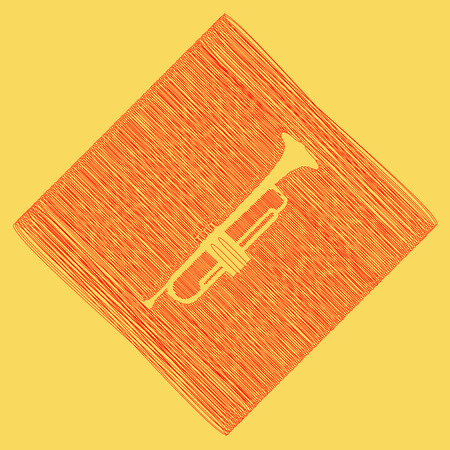 Musical instrument Trumpet sign. Vector. Red scribble icon obtained as a result of subtraction rhomb and path. Royal yellow background.