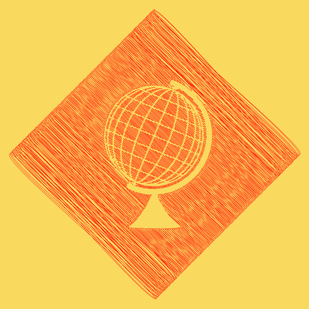 Earth Globe sign. Vector. Red scribble icon obtained as a result of subtraction rhomb and path. Royal yellow background.