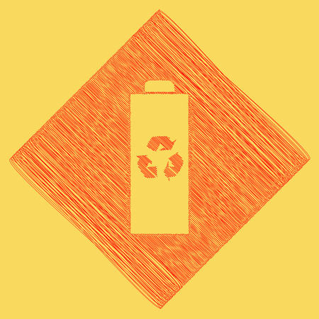 subtraction: Battery recycle sign illustration. Vector. Red scribble icon obtained as a result of subtraction rhomb and path. Royal yellow background. Illustration