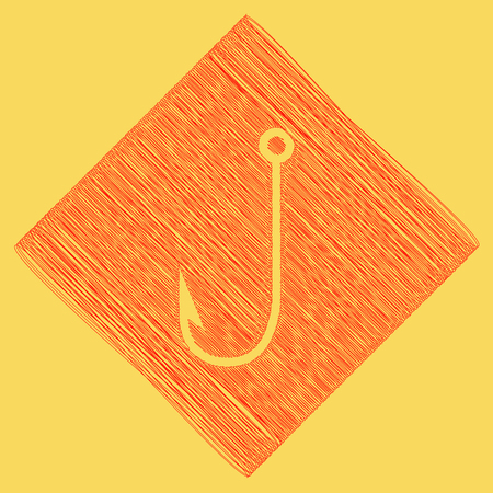 subtraction: Fishing Hook sign illustration. Vector. Red scribble icon obtained as a result of subtraction rhomb and path. Royal yellow background.