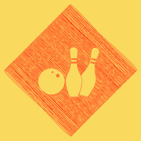 subtraction: Bowling sign illustration. Vector. Red scribble icon obtained as a result of subtraction rhomb and path. Royal yellow background.