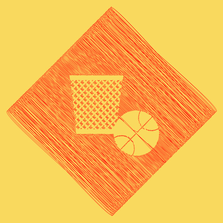 Trash sign illustration. Vector. Red scribble icon obtained as a result of subtraction rhomb and path. Royal yellow background.