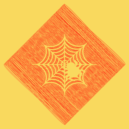 Spider on web illustration. Vector. Red scribble icon obtained as a result of subtraction rhomb and path. Royal yellow background.