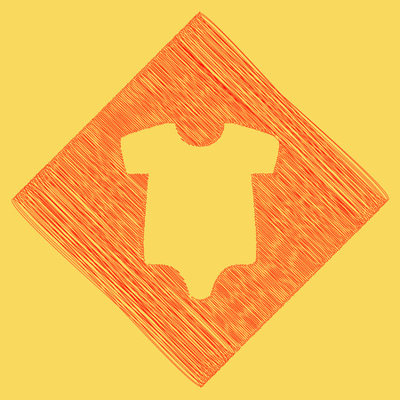 Baby cloth illustration. Vector. Red scribble icon obtained as a result of subtraction rhomb and path. Royal yellow background. Illustration