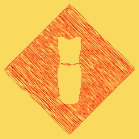Dress sign illustration. Vector. Red scribble icon obtained as a result of subtraction rhomb and path. Royal yellow background. Illustration