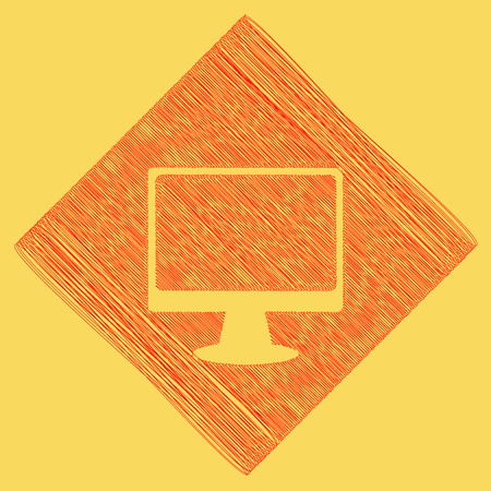 lcd tv: Monitor with brush sign. Vector. Red scribble icon obtained as a result of subtraction rhomb and path. Royal yellow background.