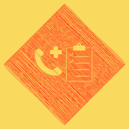 Medical consultation sign. Vector. Red scribble icon obtained as a result of subtraction rhomb and path. Royal yellow background. Illustration