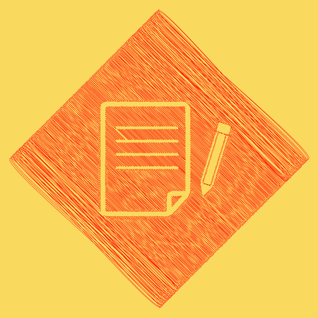 Paper and pencil sign. Vector. Red scribble icon obtained as a result of subtraction rhomb and path. Royal yellow background.