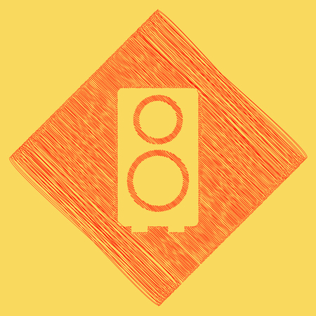 Speaker sign illustration. Vector. Red scribble icon obtained as a result of subtraction rhomb and path. Royal yellow background. Illustration
