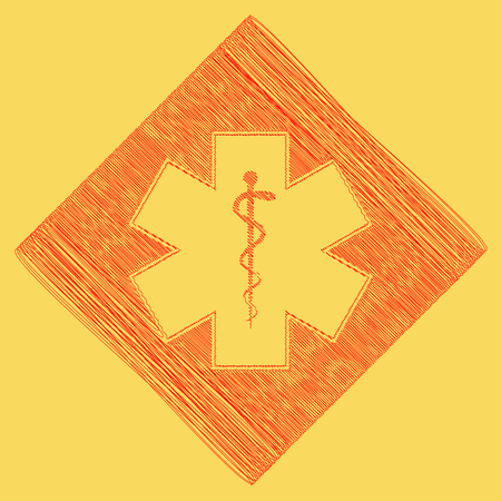 Medical symbol of the Emergency or Star of Life with border. Vector. Red scribble icon obtained as a result of subtraction rhomb and path. Royal yellow background.