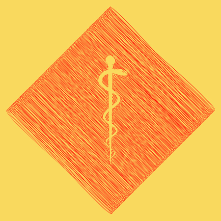 Symbol of the Medicine. Vector. Red scribble icon obtained as a result of subtraction rhomb and path. Royal yellow background.