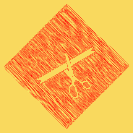 Ceremony ribbon cut sign. Vector. Red scribble icon obtained as a result of subtraction rhomb and path. Royal yellow background.