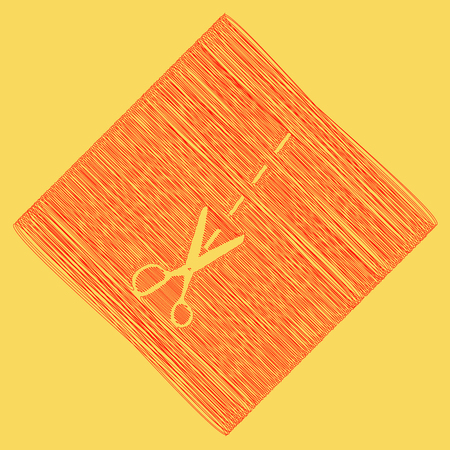 Scissors sign illustration. Vector. Red scribble icon obtained as a result of subtraction rhomb and path. Royal yellow background. Illusztráció