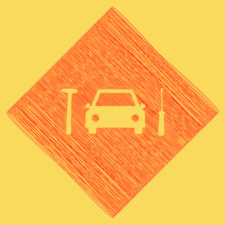 Car tire repair service sign. Vector. Red scribble icon obtained as a result of subtraction rhomb and path. Royal yellow background. Illustration