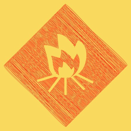 Fire sign. Vector. Red scribble icon obtained as a result of subtraction rhomb and path. Royal yellow background.